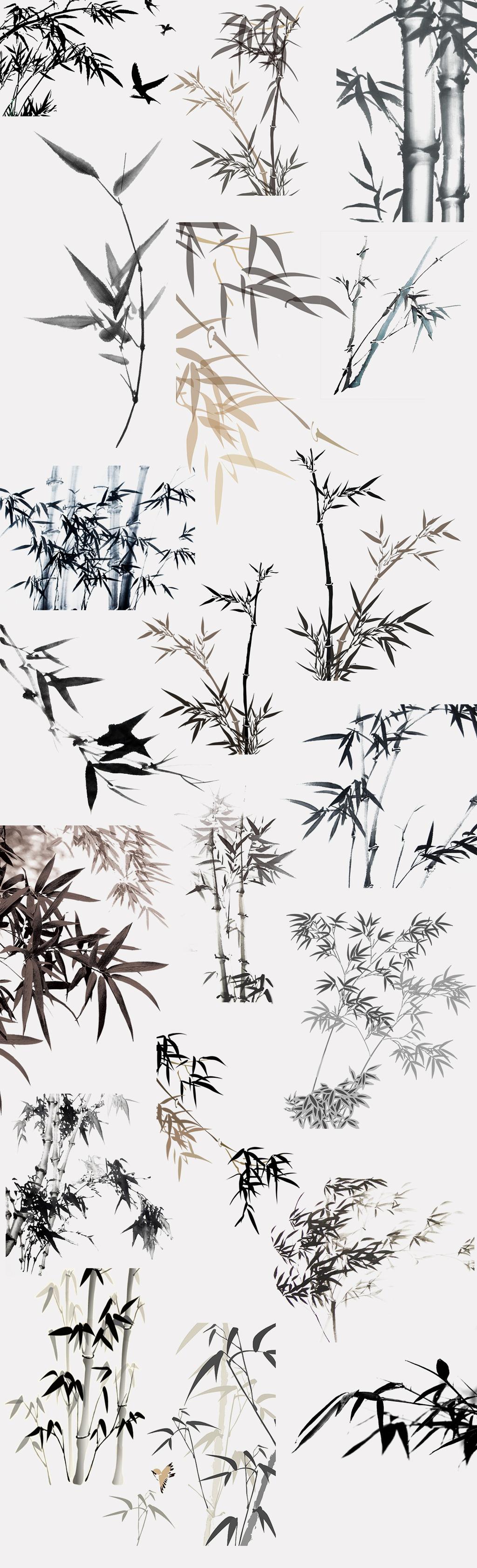 手绘竹子                                    水彩竹子