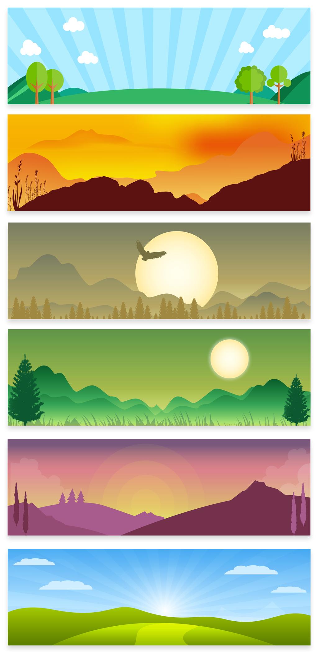 卡通中国风背景                                    手绘山水