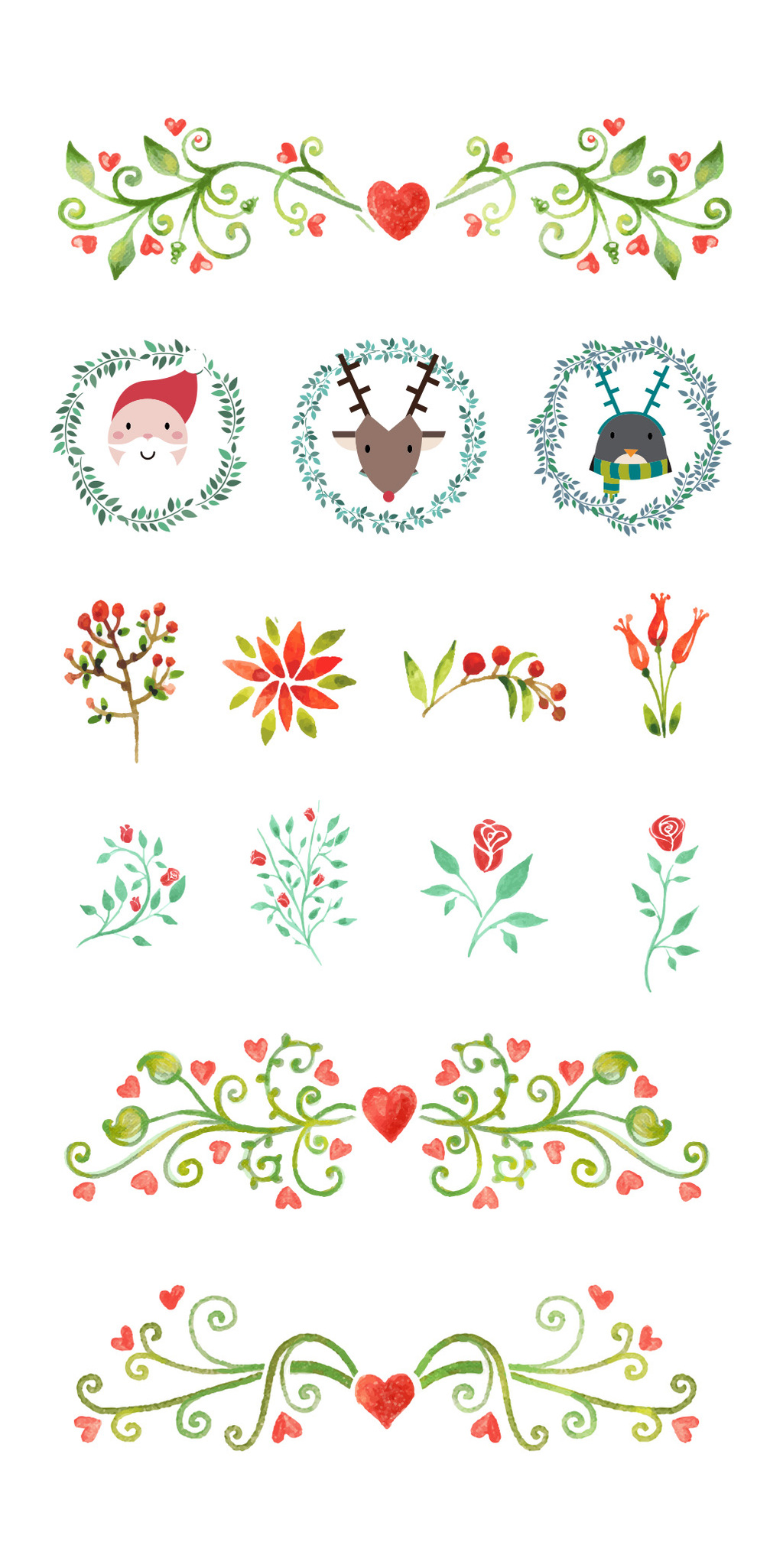清新手绘圣诞节树叶花卉淘宝素材