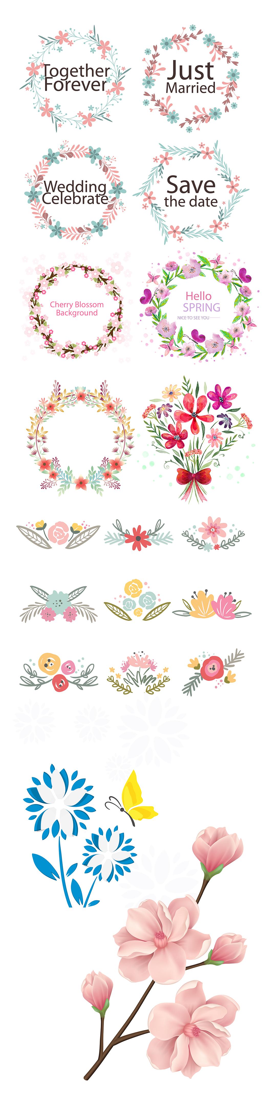 花环花卉手绘素描素材ai精细分层图下载