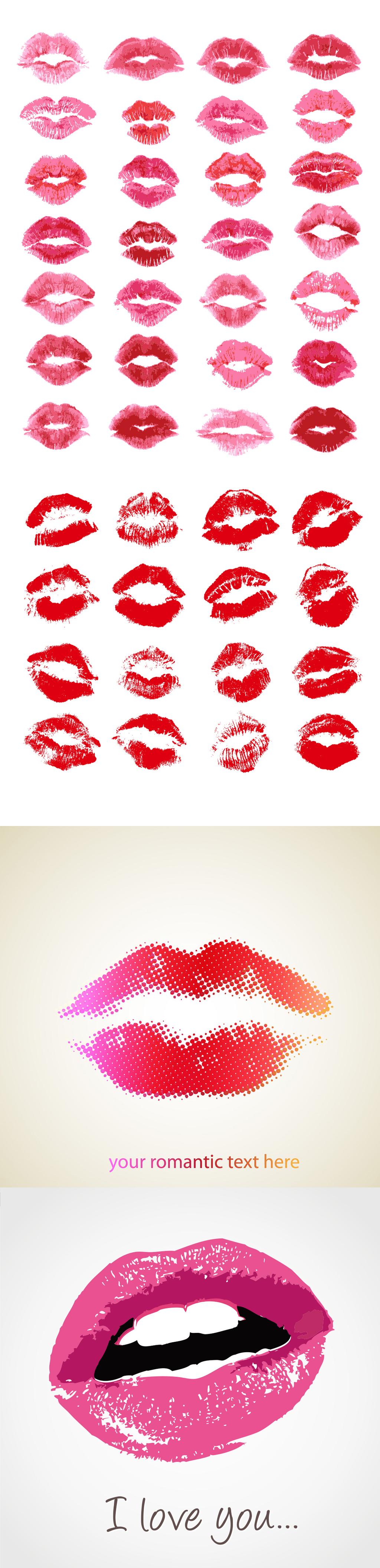 多款水彩口红唇印矢量素材图片
