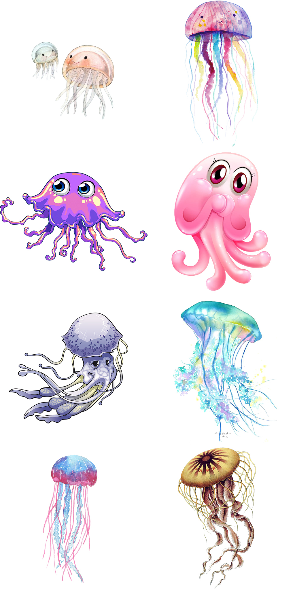 卡通水母动物海报图片素材