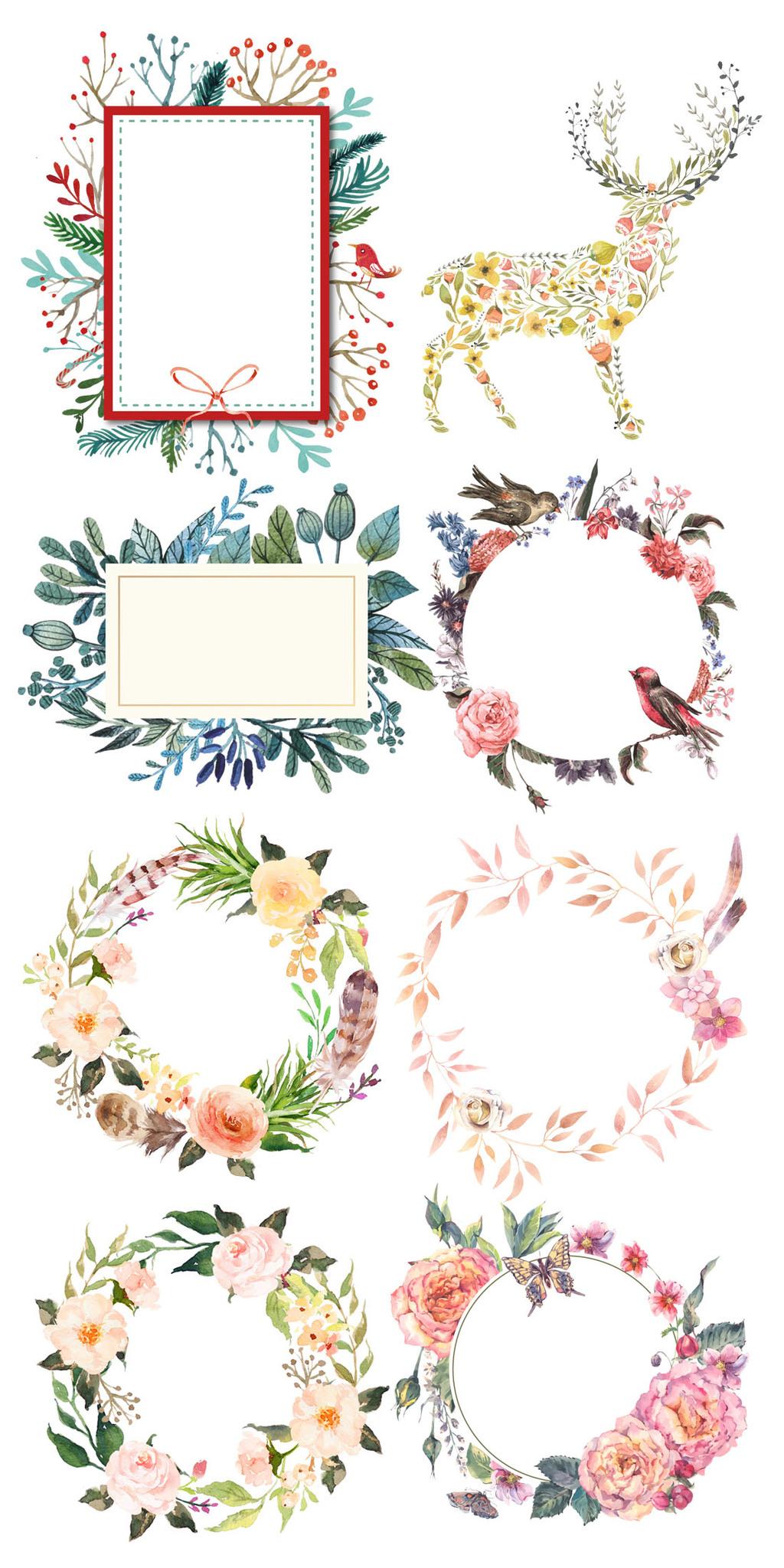 唯美清新手绘花框花圈促销素材