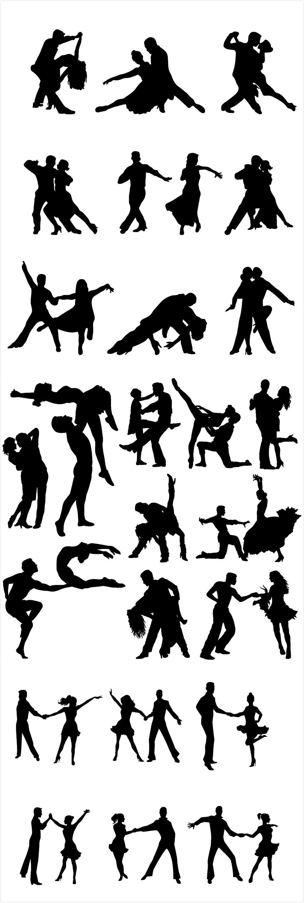 手绘舞蹈艺术节剪影图片设计素材_高清ai模板下载(mb)
