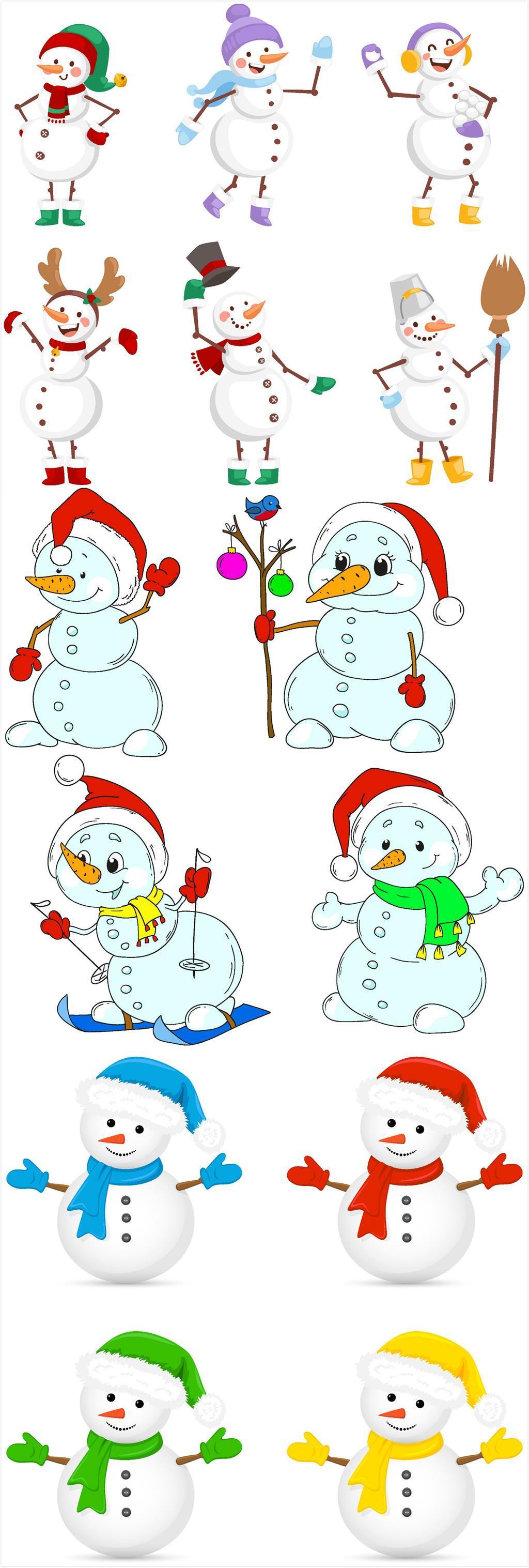 手绘卡通可爱圣诞雪人