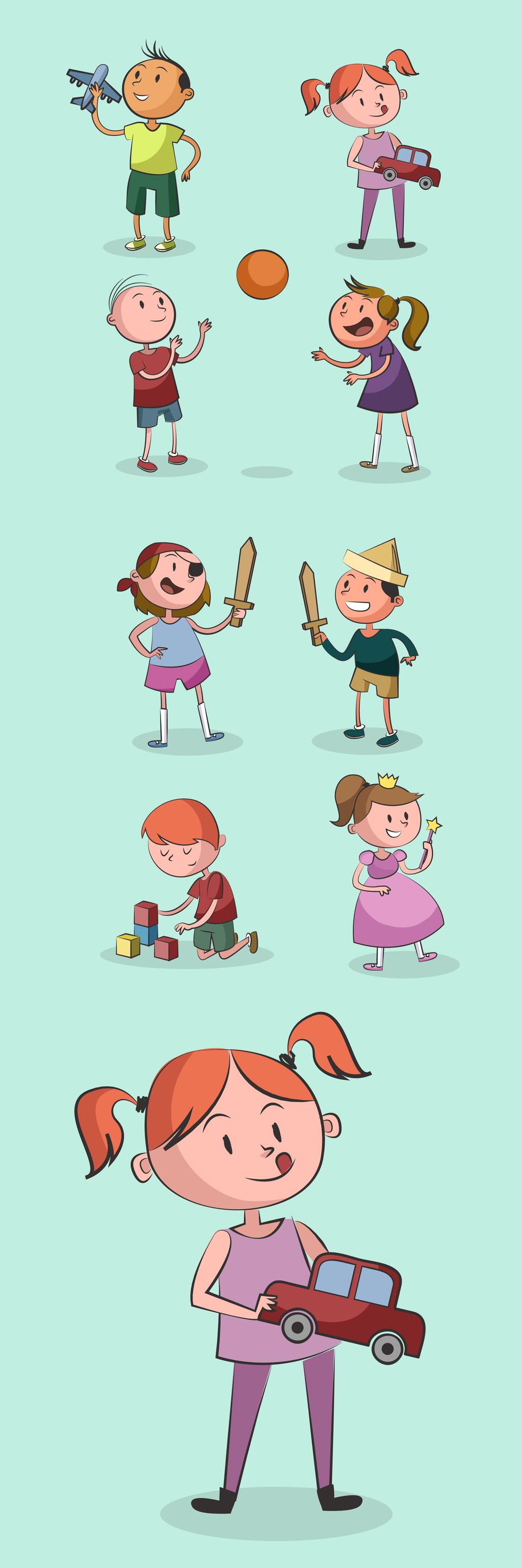 创意手绘卡通人物矢量设计元素
