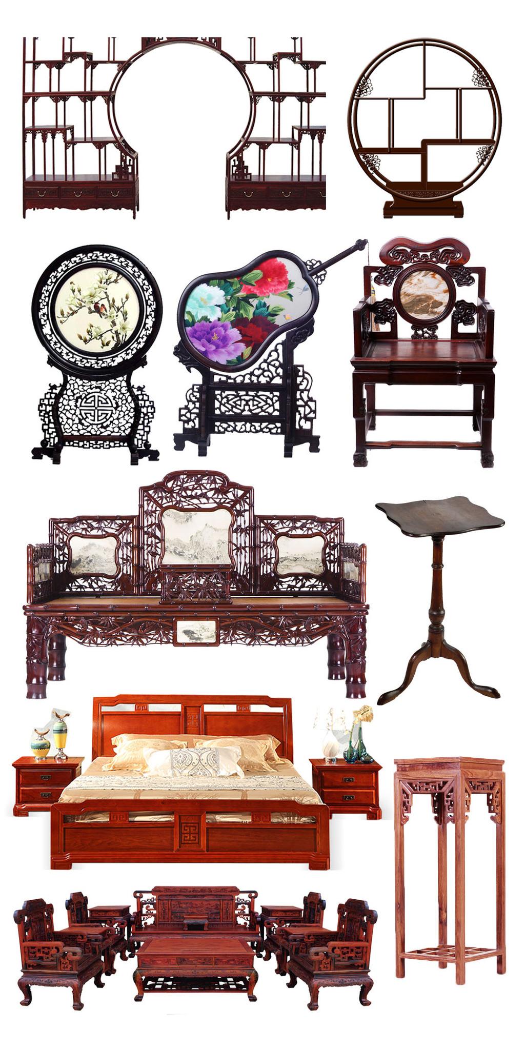 复古古典红木家具店铺装修素材