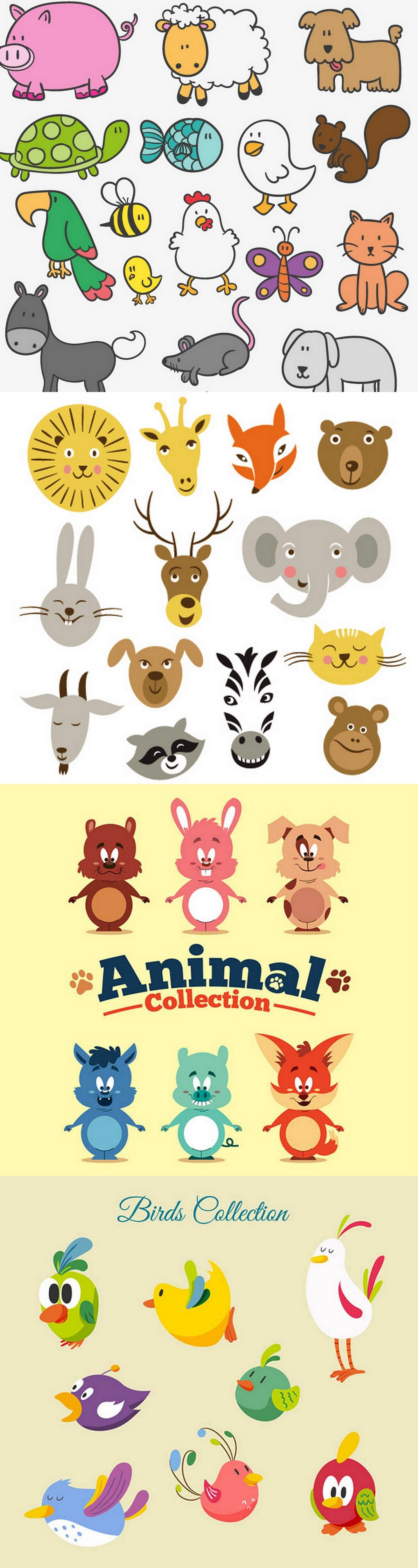 可爱卡通手绘森林动物矢量素材