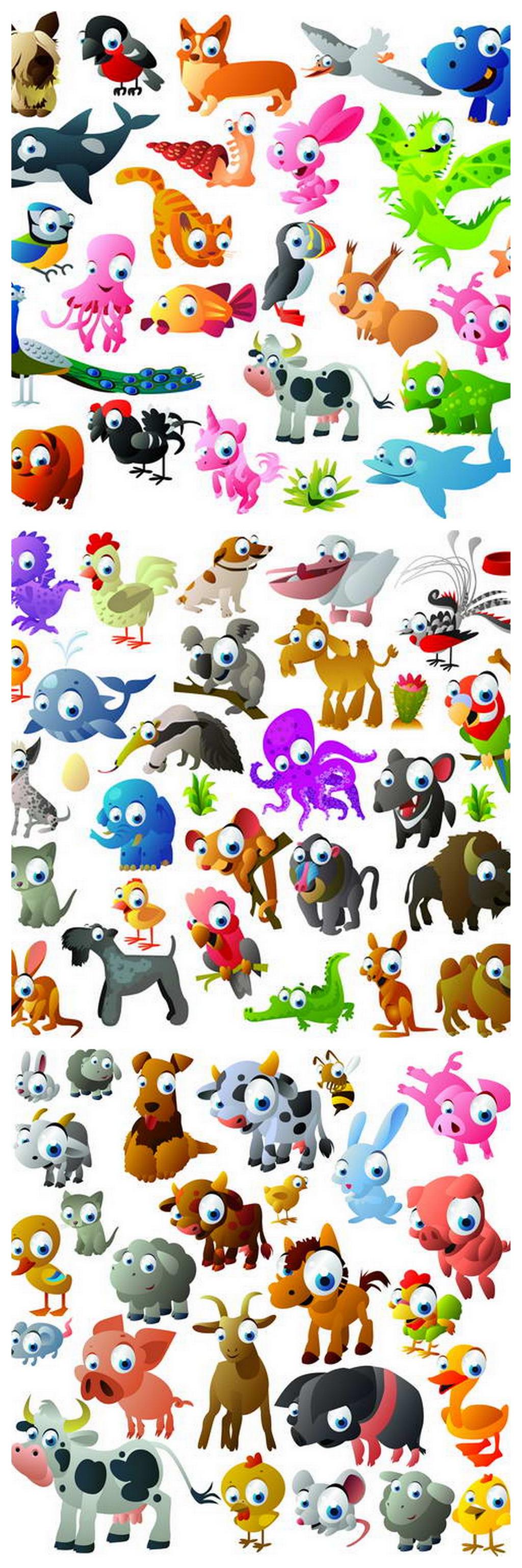 卡通彩色小动物矢量素材
