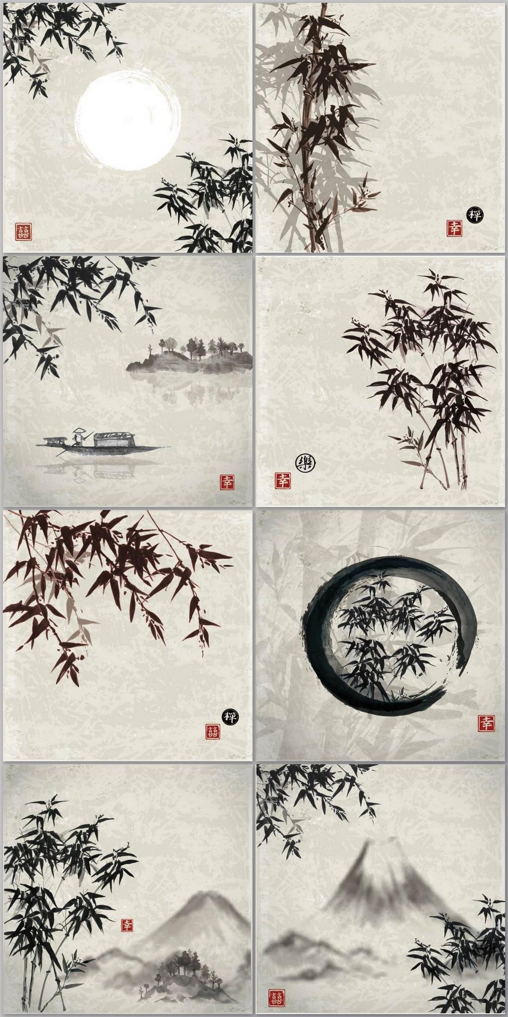 传统水墨山水竹子国画背景图片设计素材_高清eps模板