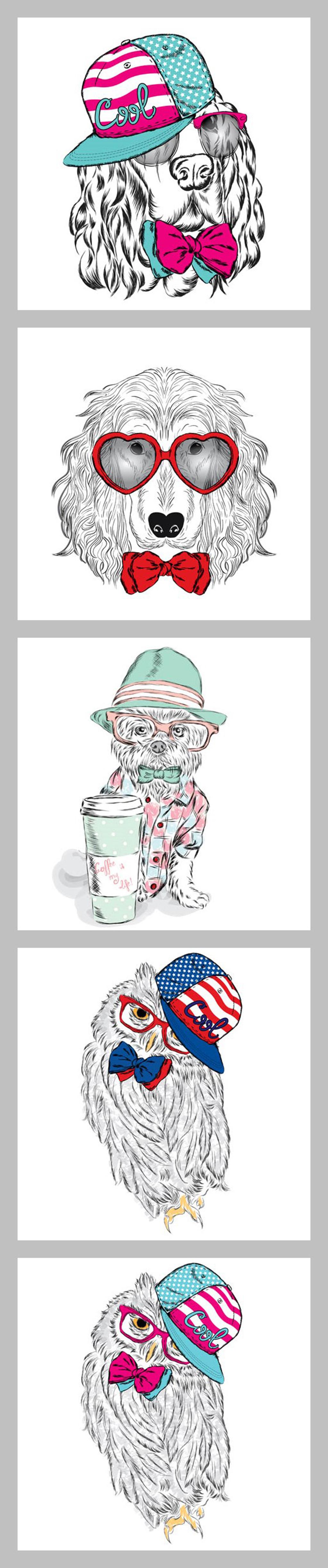 手绘卡通动物装饰画图片设计素材_高清eps模板下载(22