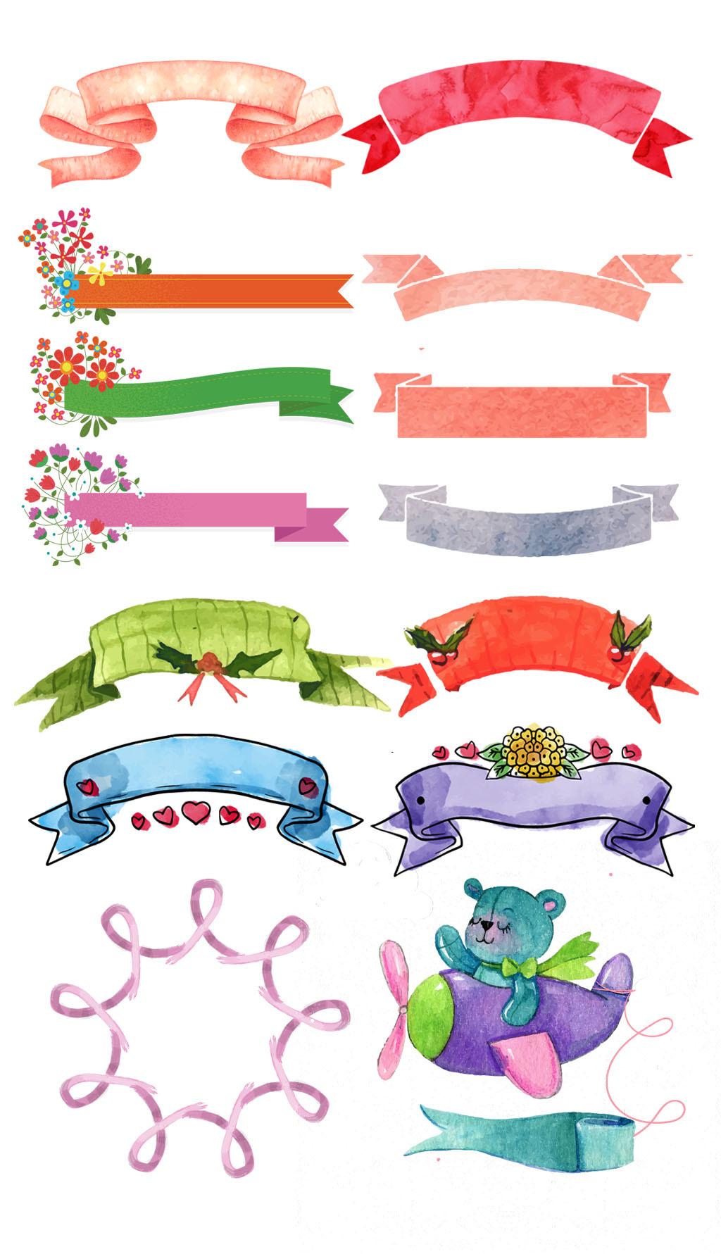 手绘彩绘丝带横幅促销标签素材