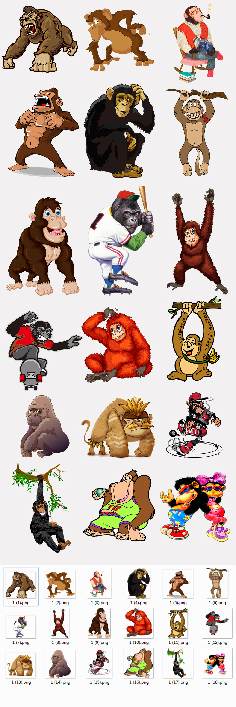 原创设计创意卡通手绘大猩猩png素材合集素材是用户qq