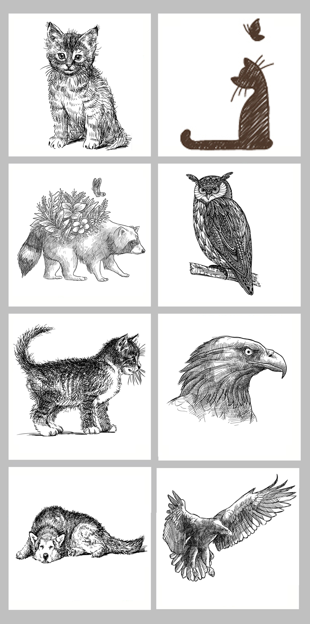 矢量北欧风格手绘线描动物装饰画图片设计素材_高清(.