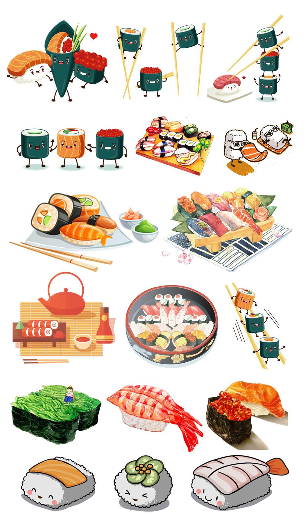 手绘卡通可爱寿司料理素材