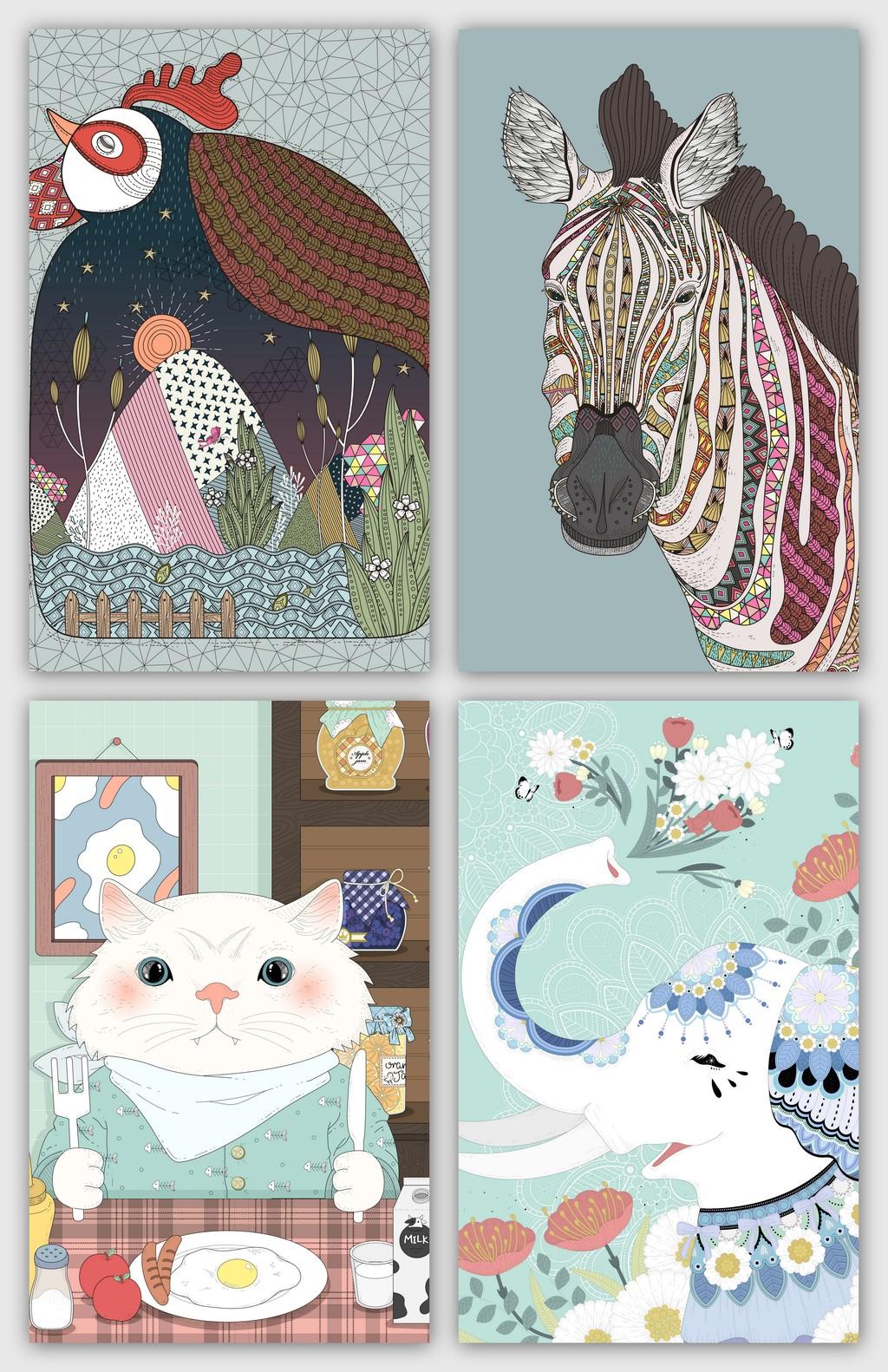卡通马等手绘小动物插画背景元素