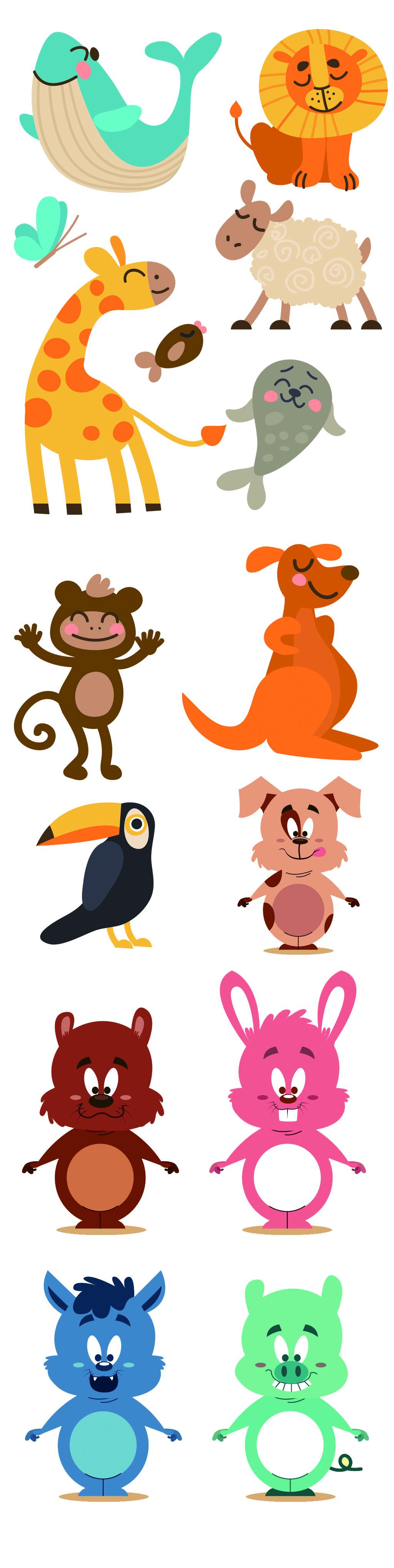 可爱手绘卡通小动物ai矢量素材图片设计_高清ai模板()