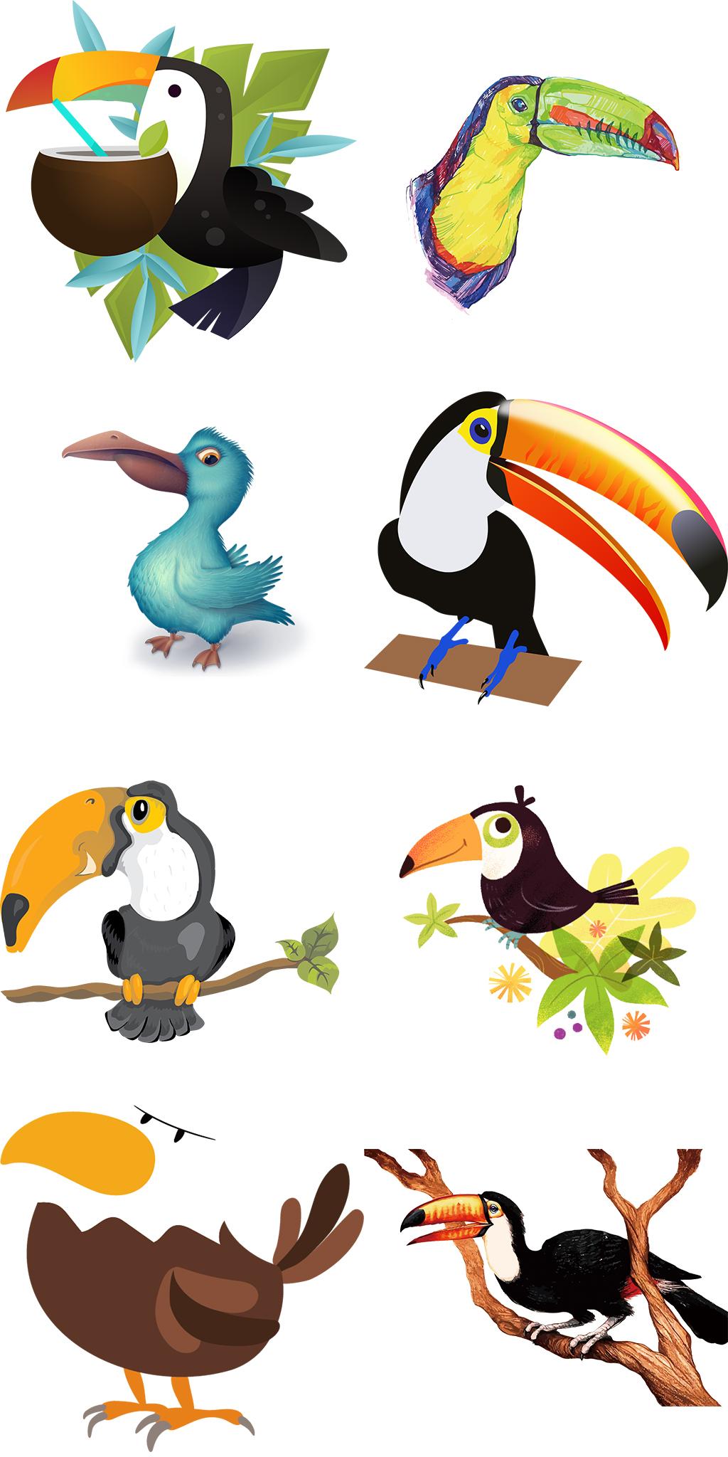 卡通手绘大嘴鸟图案png图片