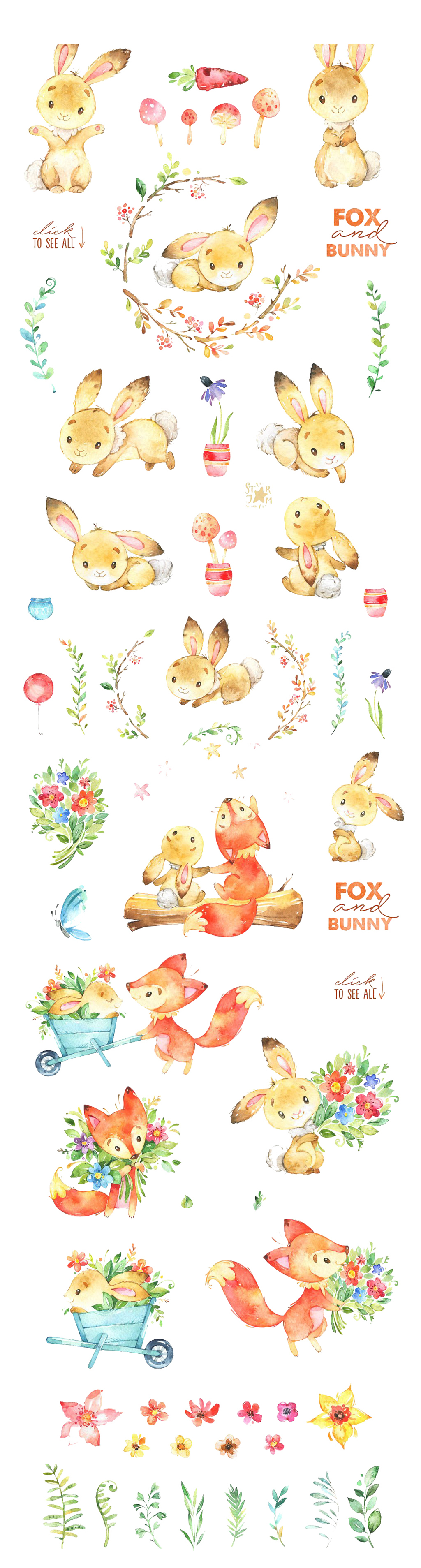 唯美风格手绘卡通小动物海报背景兔子狐狸图片设计_(2