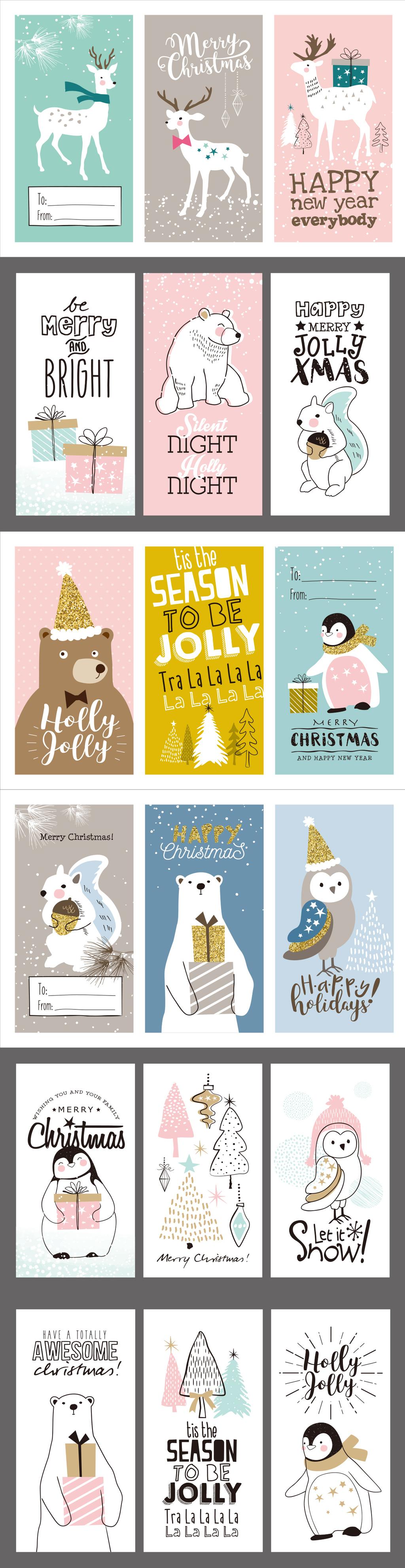 精致圣诞线性手绘卡片