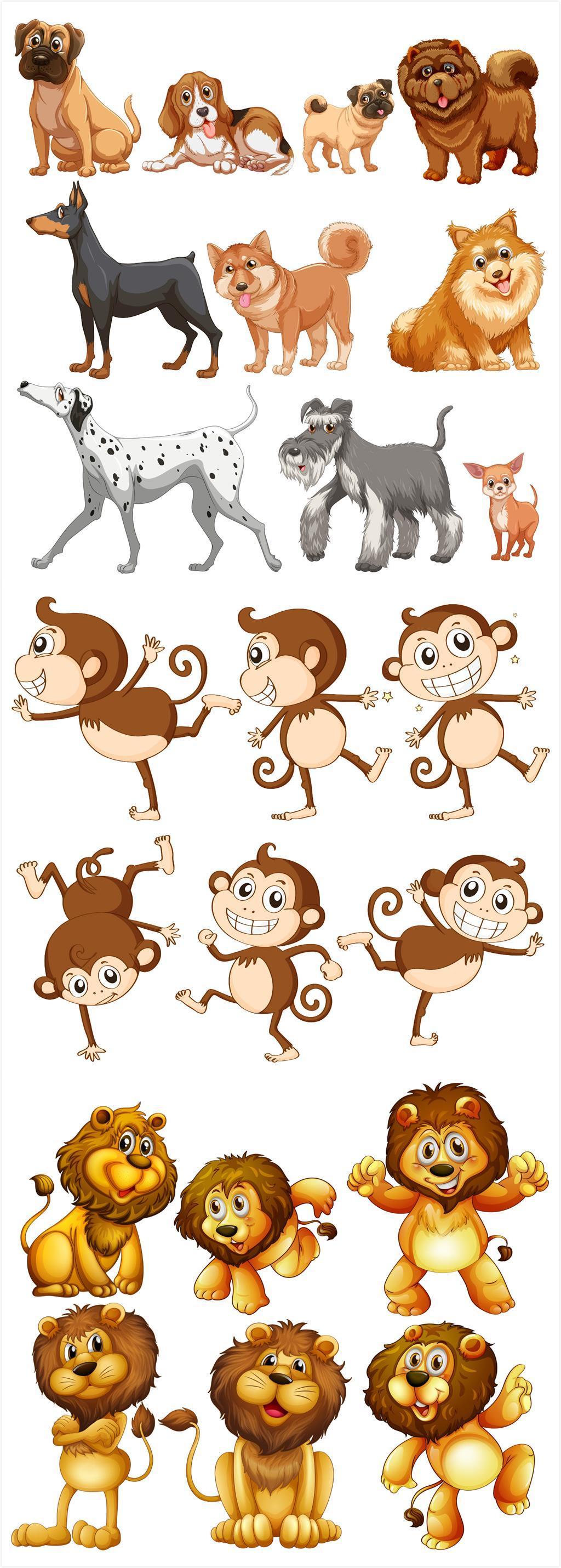 手绘卡通狗狗猴子狮子矢量素材