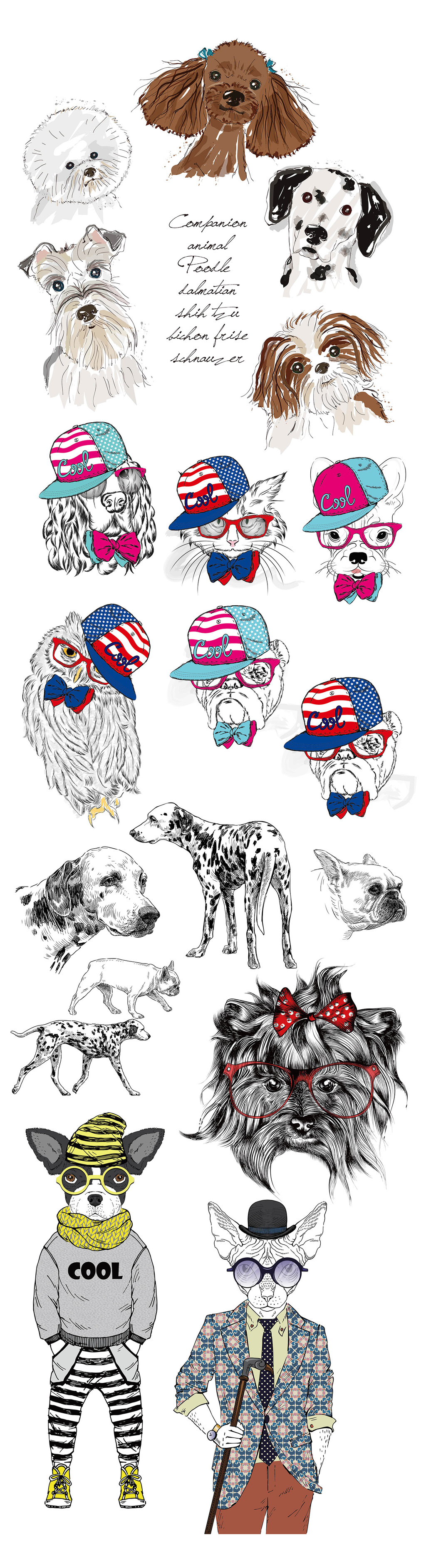 可爱手绘线描狗狗设计元素