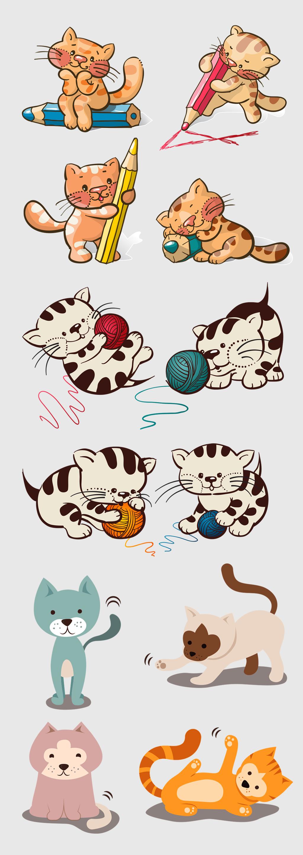 卡通小猫手绘猫矢量素材
