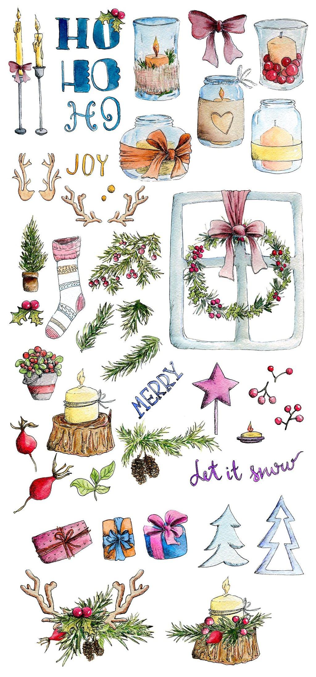 创意水彩手绘圣诞节设计装饰png素材