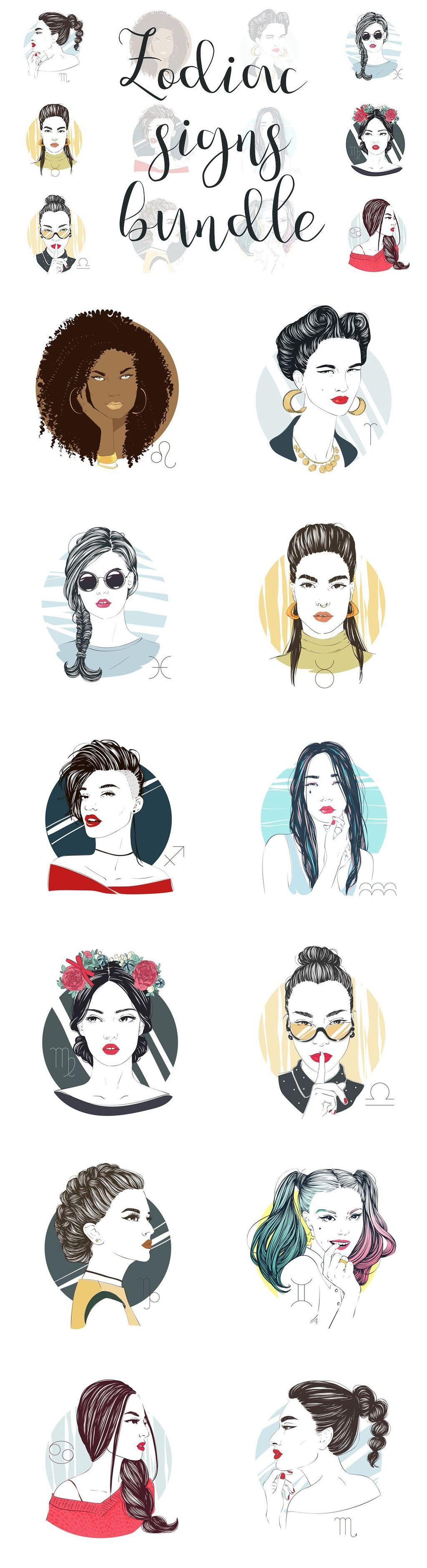 设计元素 人物形象 动漫人物 > 时尚手绘漫画风格美丽女孩头像插图