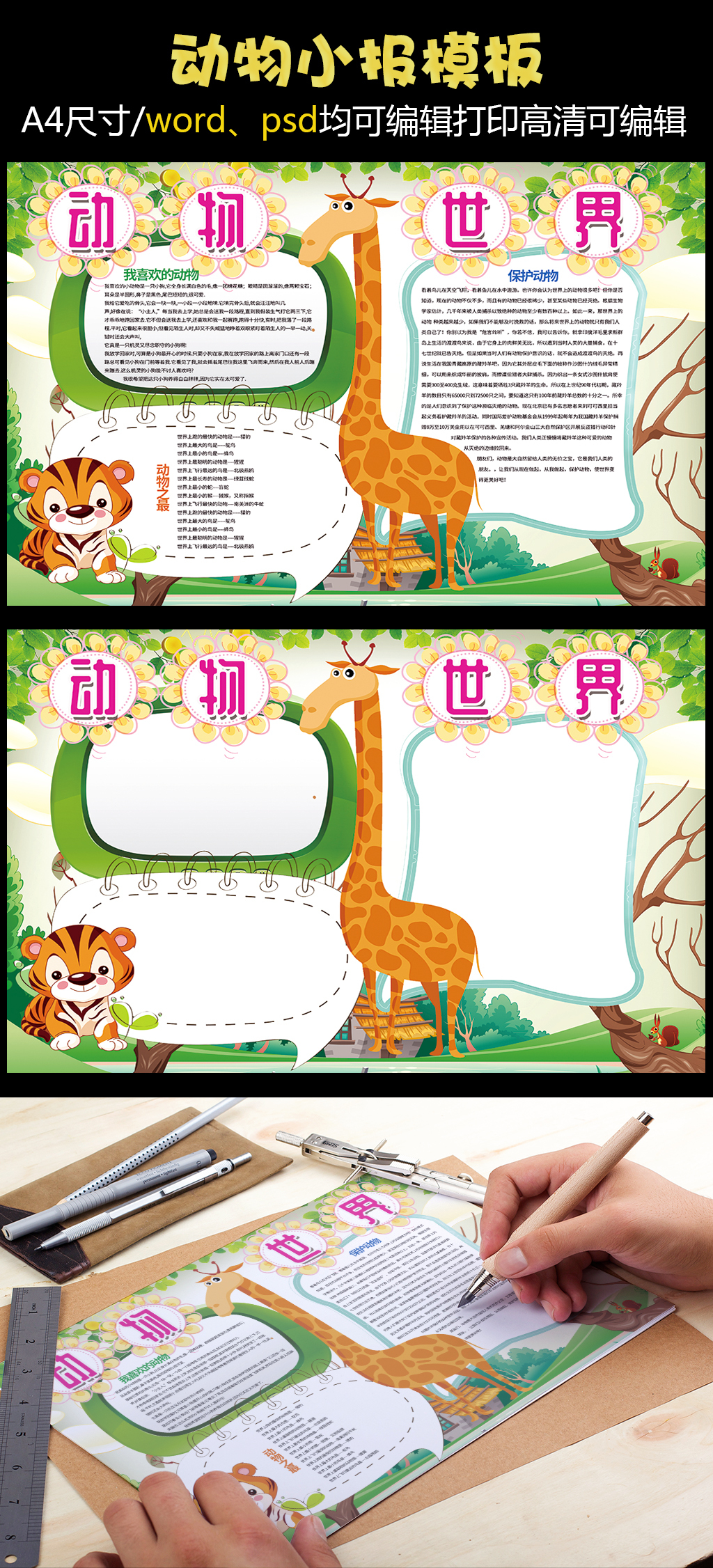 手抄报花边设计图                                    参观动物园