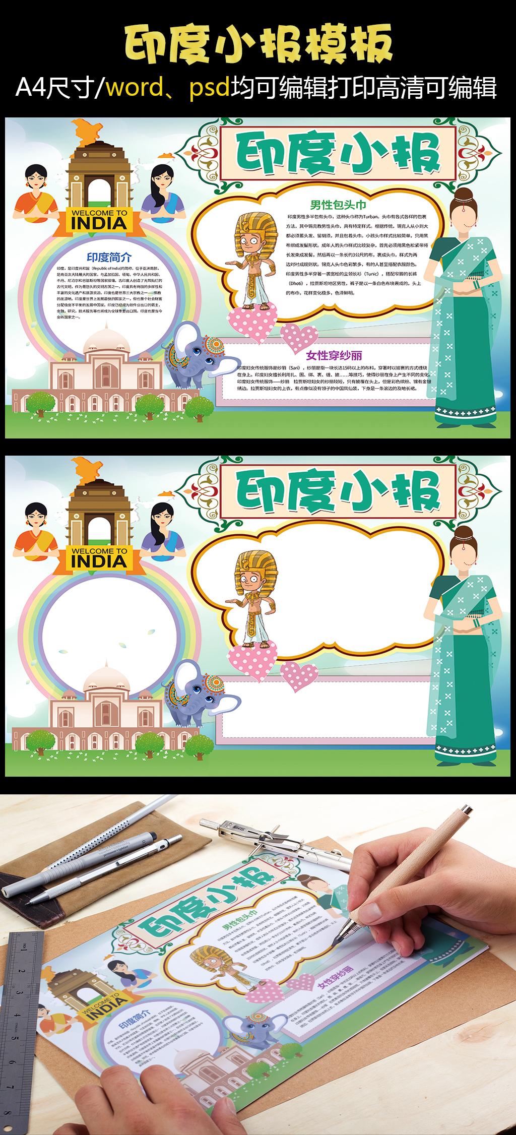 印度小报地理旅游小报模板图片