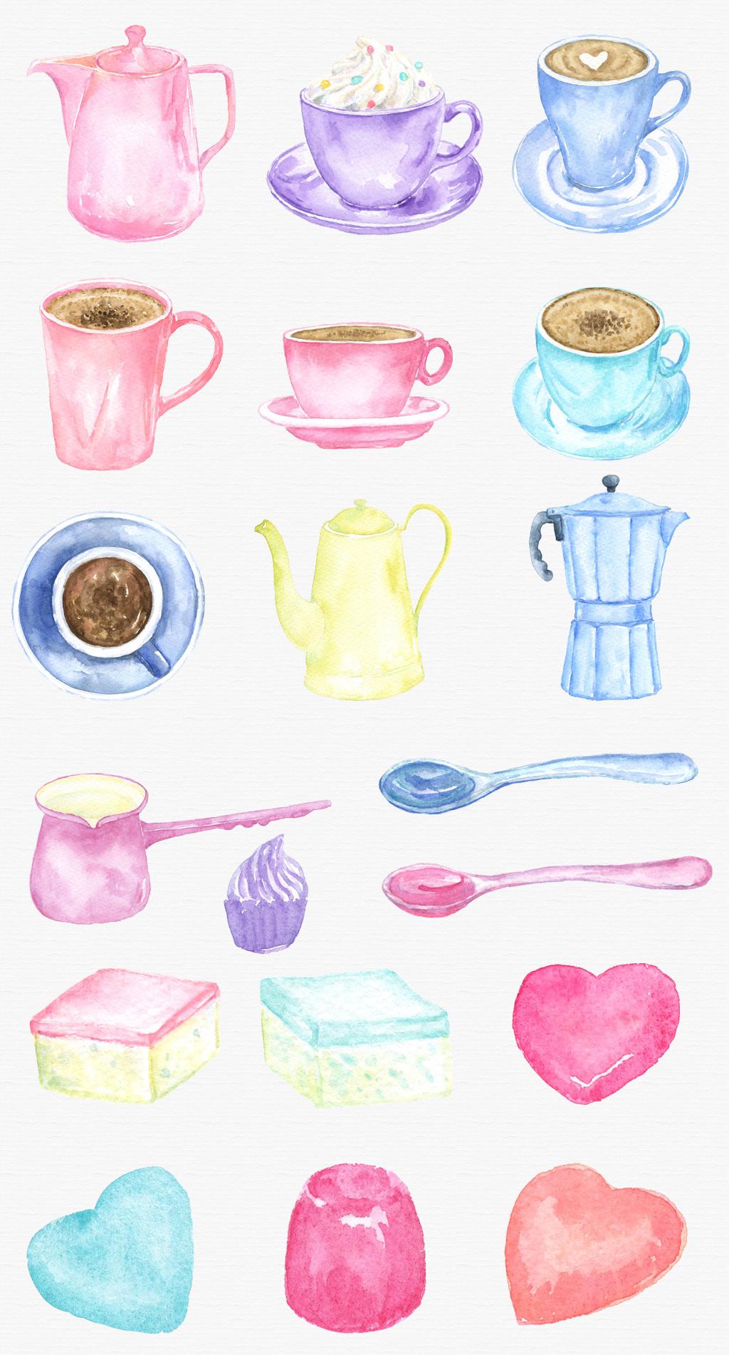 手绘水彩咖啡壶咖啡工具png素材