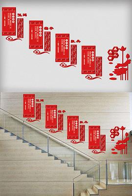 2017年中国风国学校园文化墙楼道宣传板