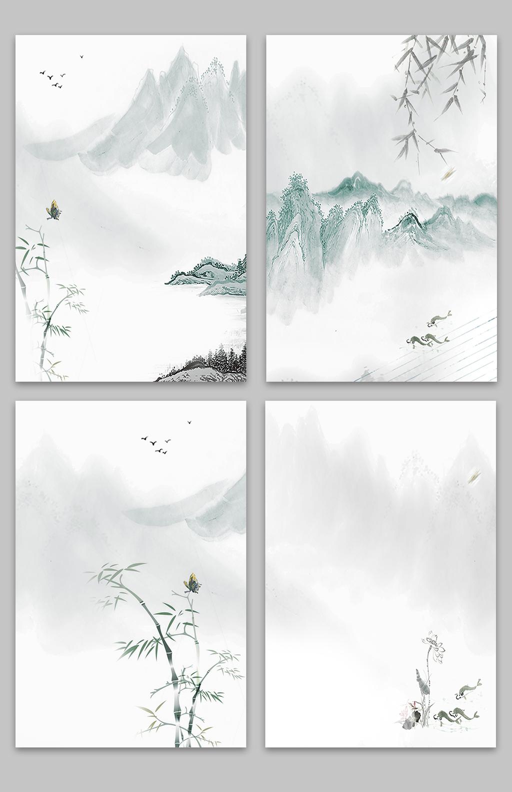 中国风复古水墨晕染山水海报背景素材图片