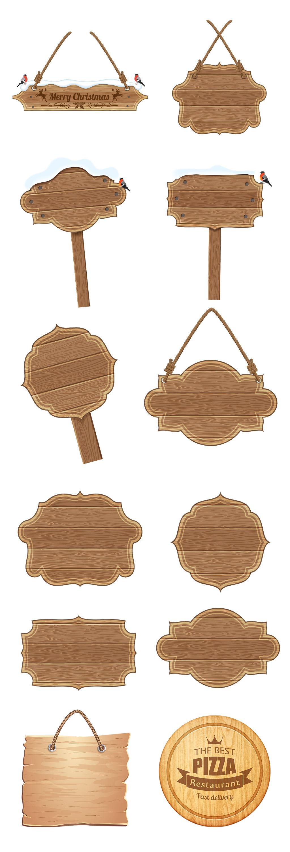手绘png木板促销标签