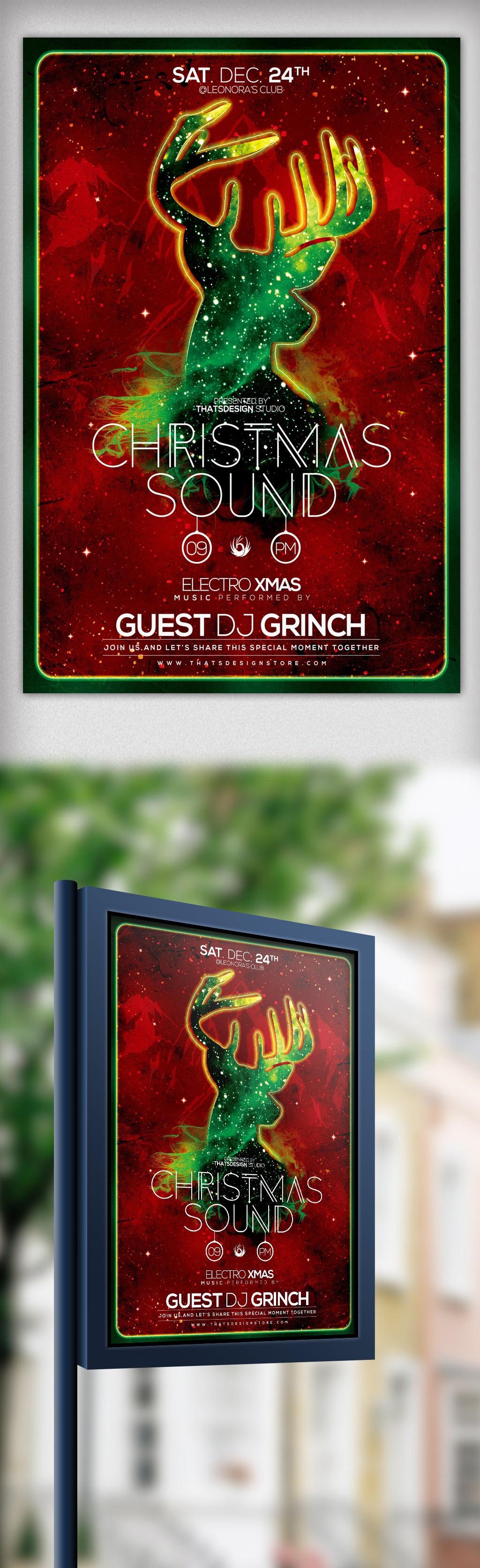 手绘圣诞迷彩麋鹿圣诞节海报