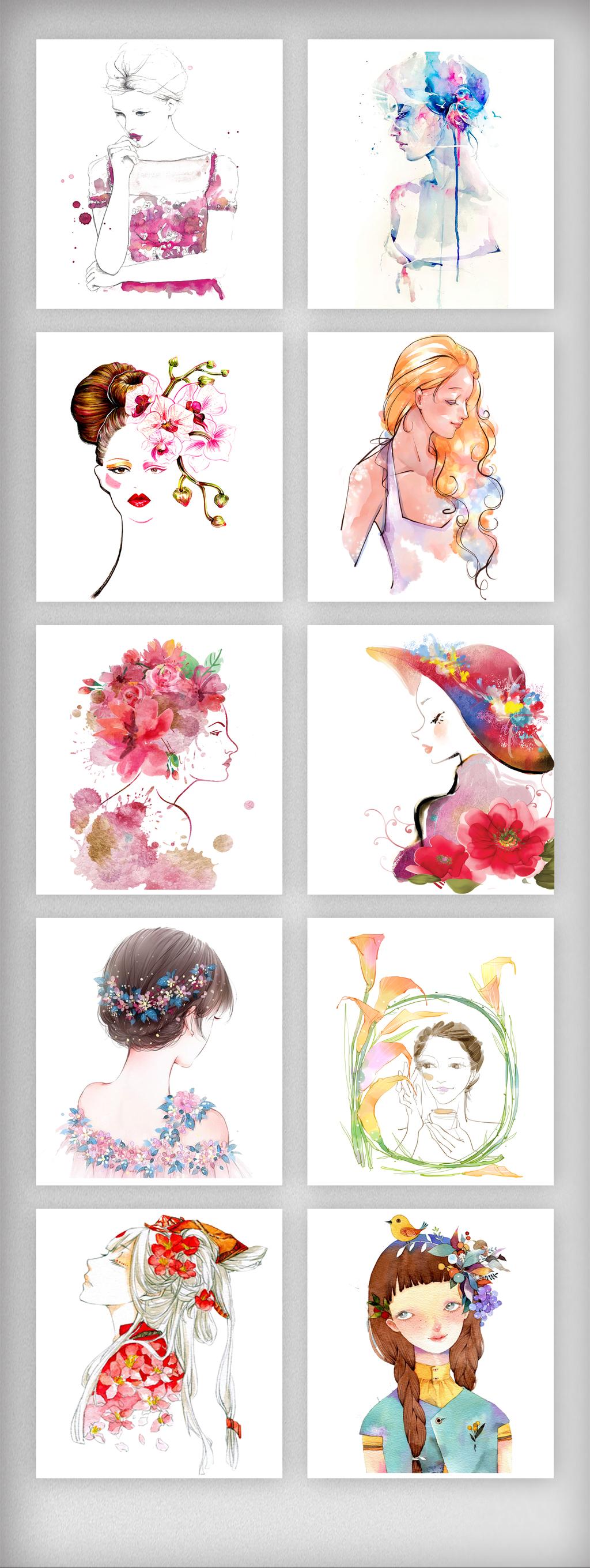 水彩手绘美女人物插画元素