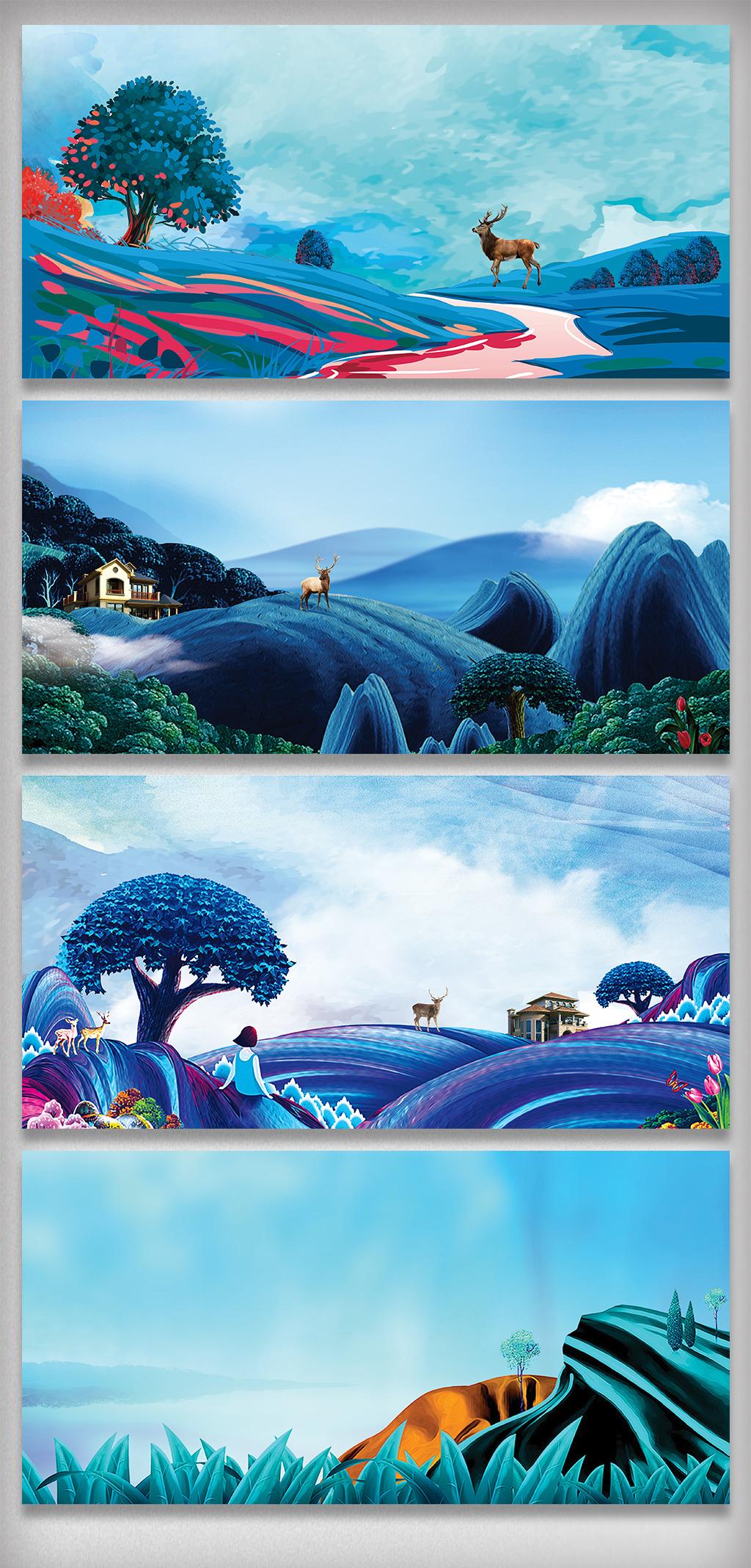 手绘风景插画海报展板背景素材