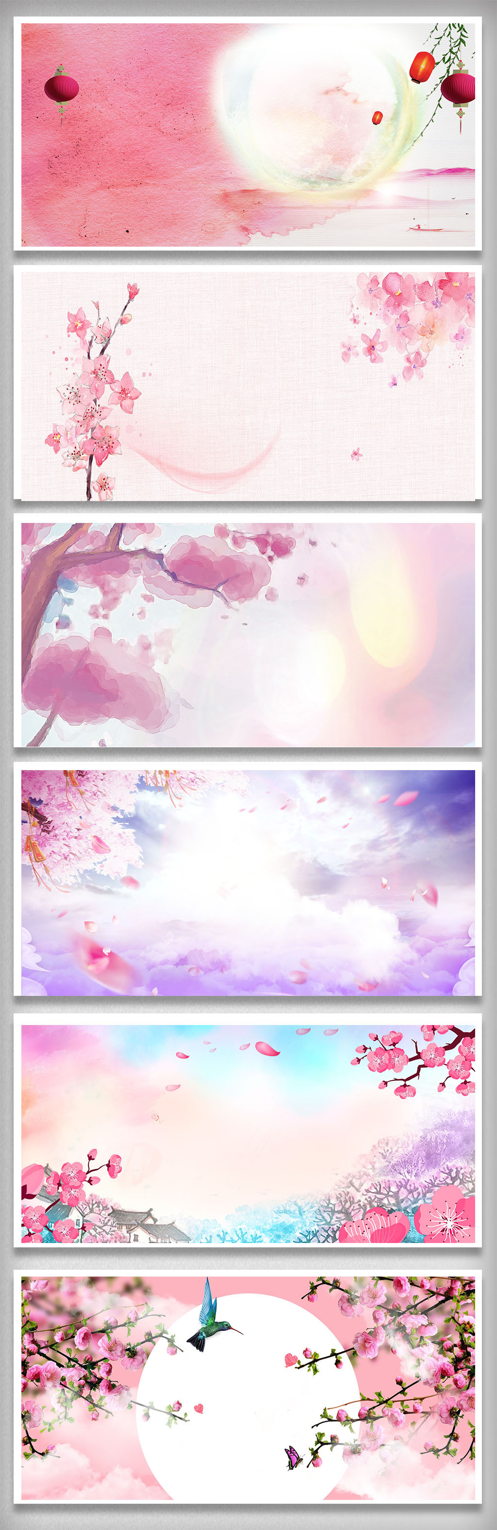 唯美桃花彩绘手绘背景图