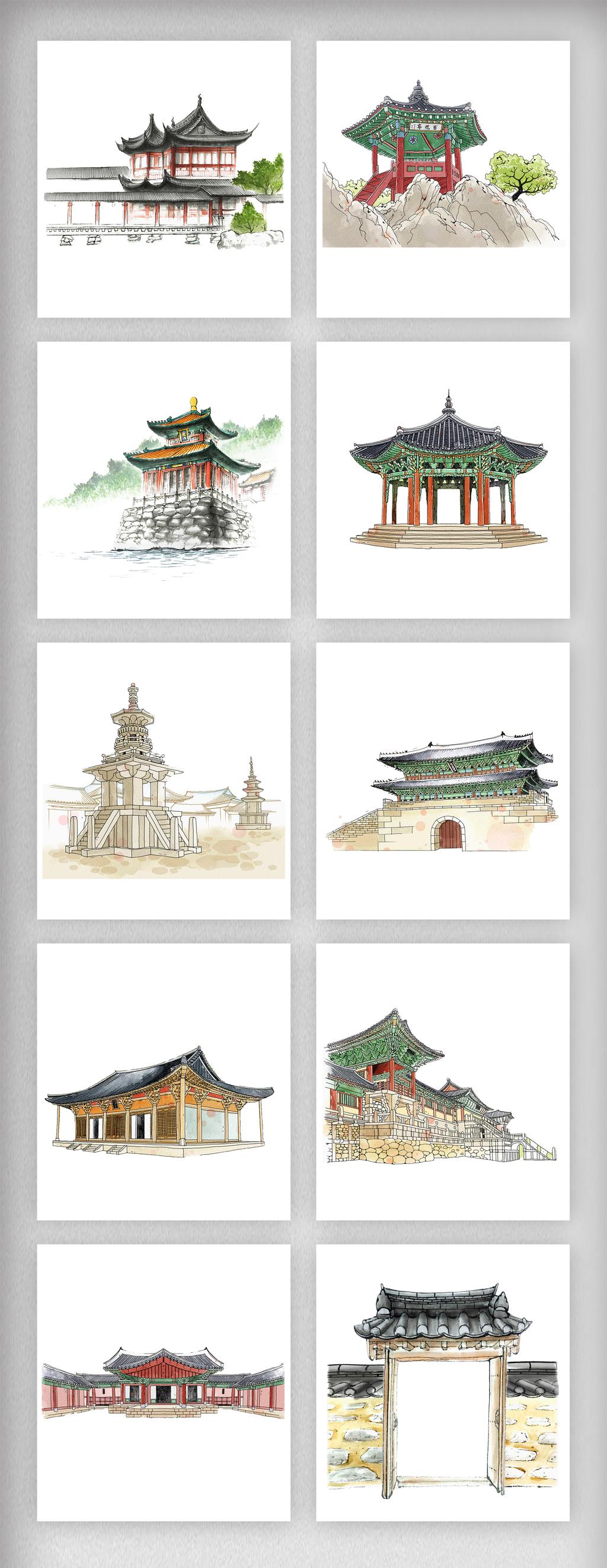 手绘中国风彩色古风建筑元素png