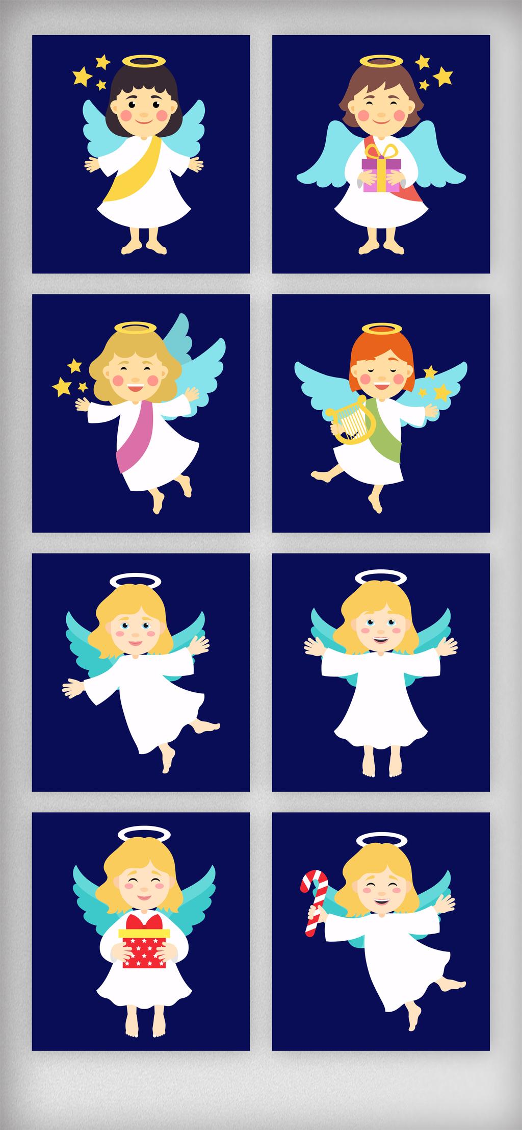 设计元素 人物形象 儿童 > 手绘可爱小天使矢量元素   图片编号