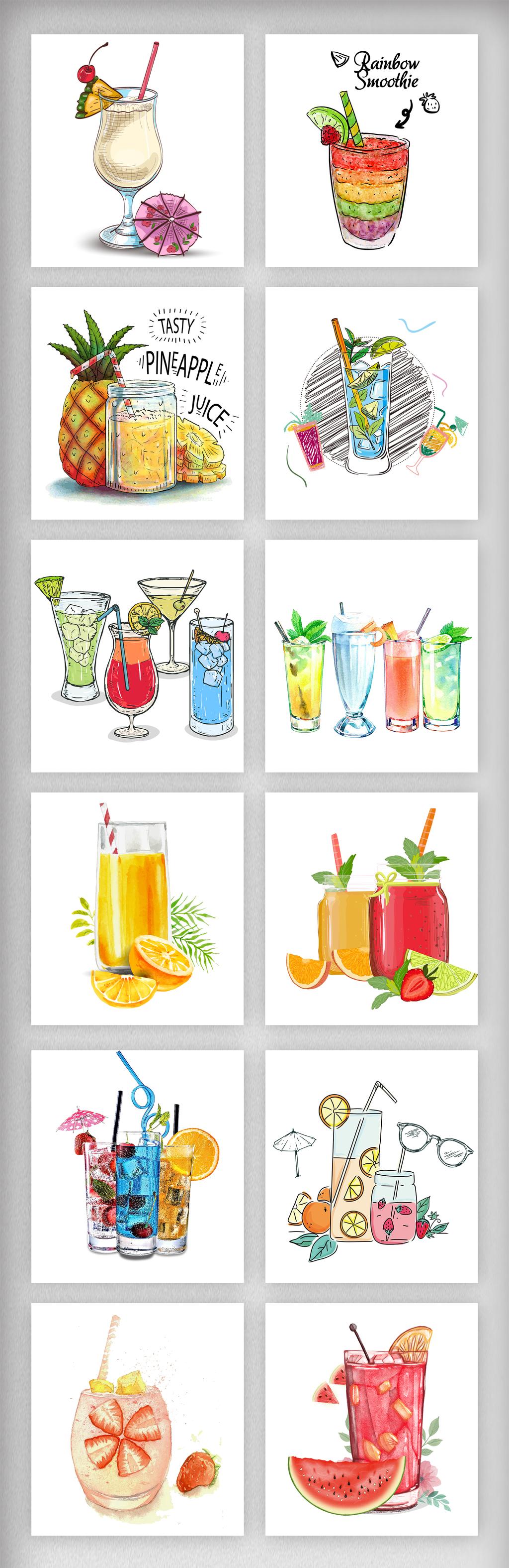 卡通水彩手绘果汁特饮促销元素