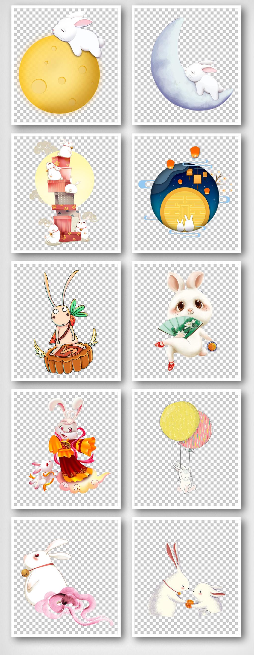 中秋节玉兔月亮桂花树赏月素材