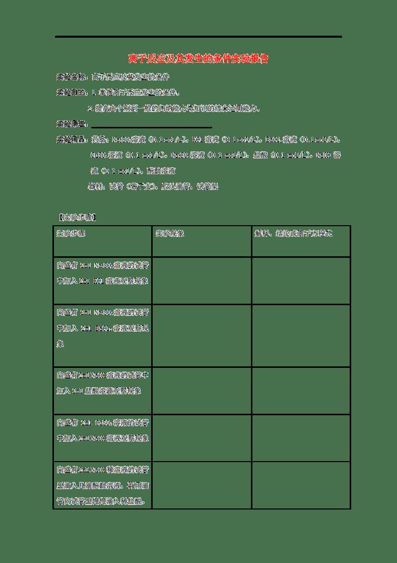 实验报告格式范文图片