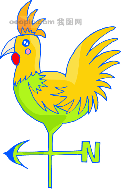 公鸡路标-动物卡通图