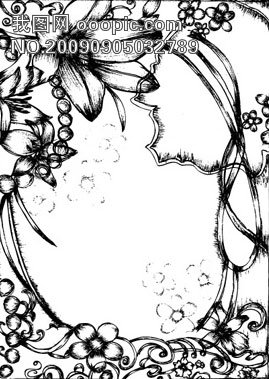 原创设计钢笔画风格花朵边框矢量素材